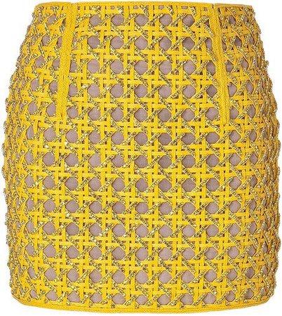 balmain yellow skirt