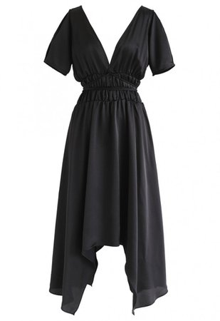 Plunging V-Neck Shirred Asymmetric Dress in Black - NEW ARRIVALS - Retro, Indie and Unique Fashion