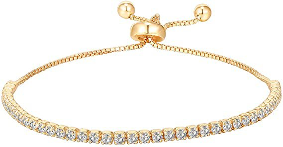 Amazon.com: PAVOI 14K Gold Plated Cubic Zirconia Classic Tennis Bracelet for Women in Yellow Gold