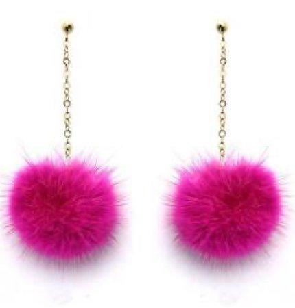 Pink Fur Earrings