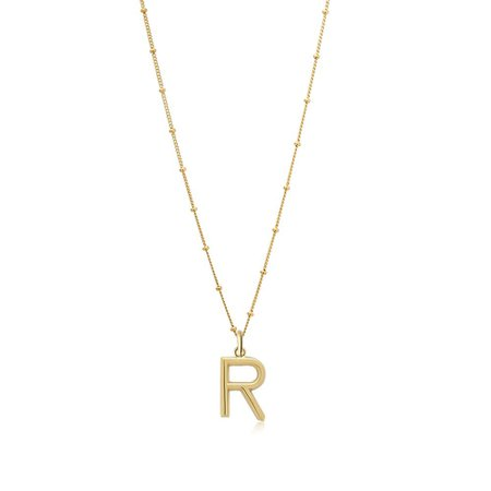 R Initial Gold Necklace - Bestselling Alphabet Letter Jewellery - Edge of Ember