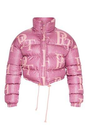 Prettylittlething Pink Crop Puffer Jacket   PrettyLittleThing USA