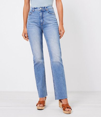 The High Waist Relaxed Straight Jean in Bleach Out Wash