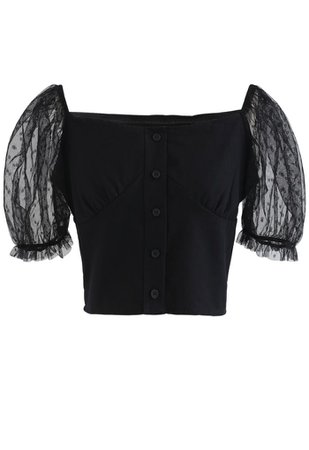 Lace Sleeves Spliced Button Down Crop Top in Black - Retro, Indie and Unique Fashion