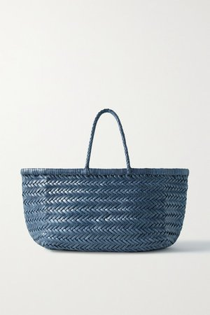 Bamboo Triple Jump Small Woven Leather Tote - Navy