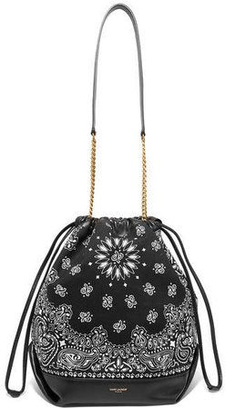 Teddy Leather-trimmed Printed Canvas Bucket Bag - Black