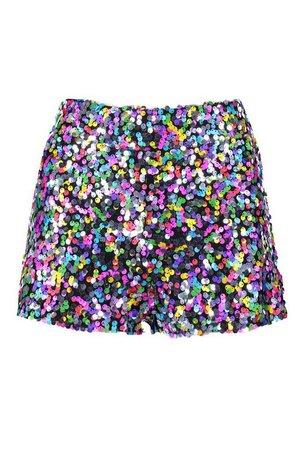 Rainbow Sequin Hot Pant | Boohoo
