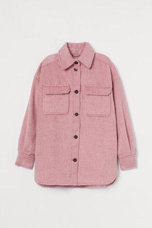 Wool-blend Shacket - Light pink - Ladies   H&M US