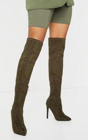 Khaki Thigh High Stiletto Boots   Shoes   PrettyLittleThing