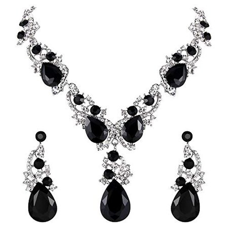 Amazon.com: BriLove Wedding Bridal Necklace Earrings Jewelry Set for Women Multi Teardrop Cluster Crystal Statement Necklace Dangle Earrings Set Black Silver-Tone: Jewelry