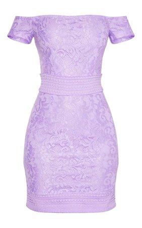 Lilac Bardot Lace Crochet Bodycon Dress   PrettyLittleThing