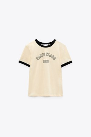T-SHIRT WITH PIPING AND TEXT | ZARA United States