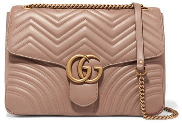 Gg Marmont Large Quilted Leather Shoulder Bag - Beige