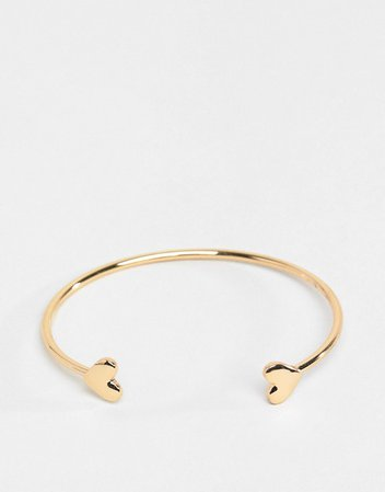 ASOS DESIGN cuff bracelet with heart detail in gold | ASOS
