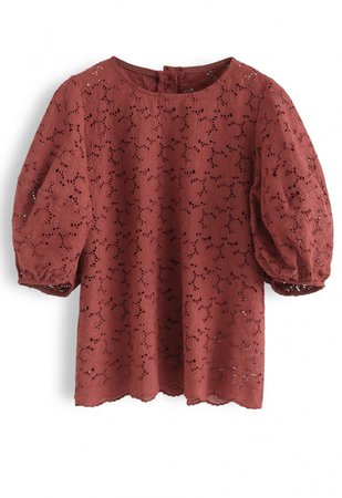 Full Flowers Embroidered Eyelet Puff Sleeves Top in Rust - NEW ARRIVALS - Retro, Indie and Unique Fashion