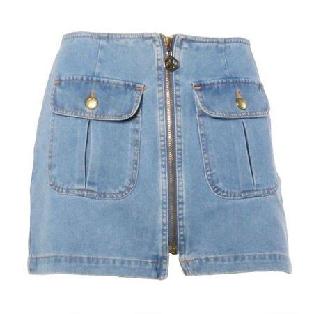 Moschino Jeans 1990s 90s Chambray Denim Zip Up Mini Skirt