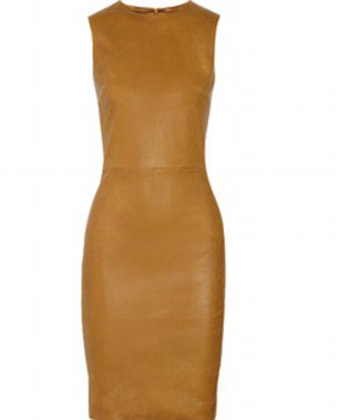 tan leather dress