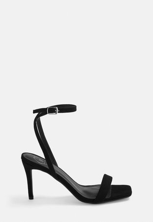 Black Faux Suede Barely There Low Heels | Missguided