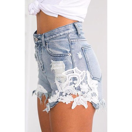 Jean Shorts | Shop Women's Blue High Waist Short Jean Shorts at Fashiontage | ST26L