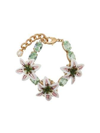 Dolce & Gabbana Flower Embellished Bracelet WBL6L2W1111 Green | Farfetch