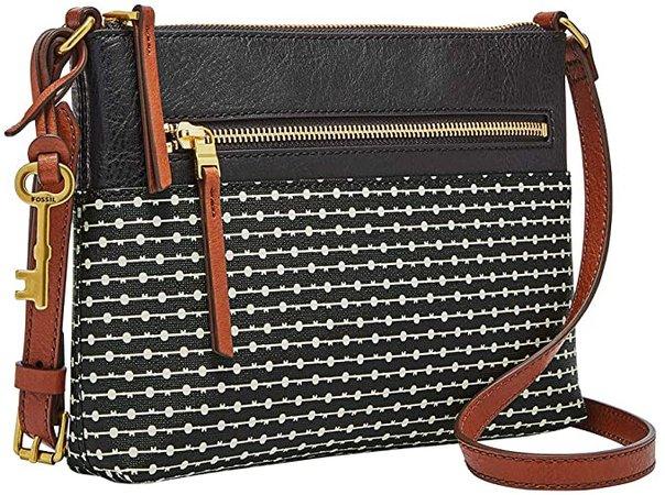 Fossil Women's Fiona PVC Small Crossbody Handbag, Black Stripe: Handbags