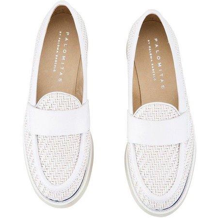 Palomitas - YLENIA White Intrecciato Leather Flatform Loafers ($160)