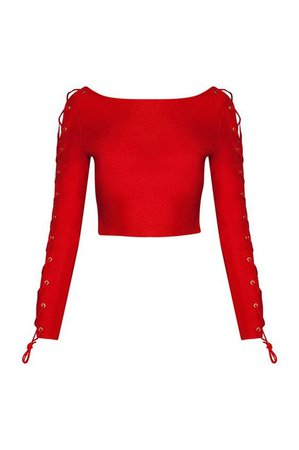 Long Sleeve Red Tie Top