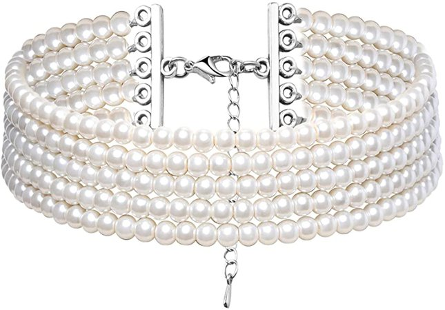 Amazon.com: BABEYOND Round Imitation Pearl Choker Necklace Multi Strands Choker 20s Flapper Necklace Accessories for Party (2-Layer): Jewelry