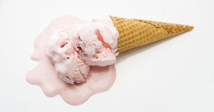 Melted Strawberry Ice Cream Cone | PlusPNG