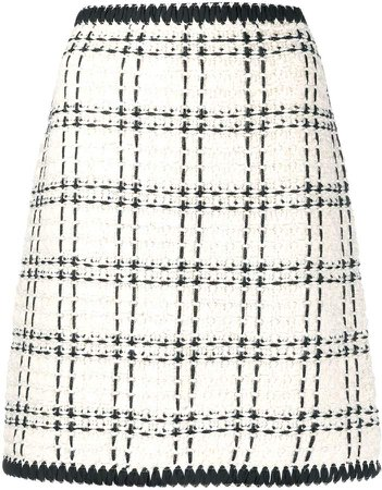 boucle checked pattern skirt