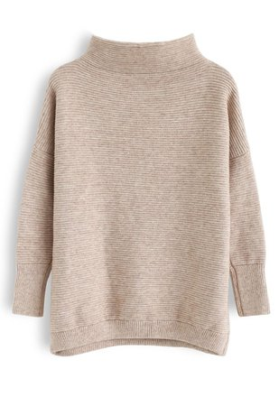 Cozy Ribbed Turtleneck Sweater in Linen - Retro, Indie and Unique Fashion
