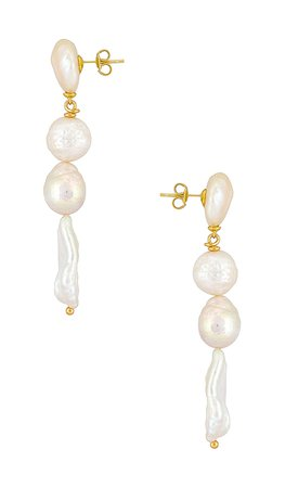joolz by Martha Calvo Baroque Drop Pearl Earrings in Gold | REVOLVE