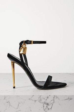 Black Padlock embellished velvet sandals   TOM FORD   NET-A-PORTER