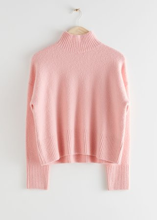 Cropped Mock Neck Sweater - Pink - Mock neck sweaters - & Other Stories