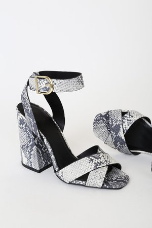 White and Grey Snake Heels - Vegan Heels - High Heel Sandals