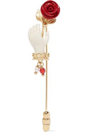 Of Rare Origin | Forget Me Not gold vermeil multi-stone brooch | NET-A-PORTER.COM