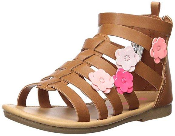 Amazon.com | carter's Girl's Flossie Flower Gladiator Sandal, Brown, 6 M US Toddler | Sandals