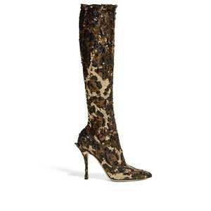 Leopard-sequinned knee-high boots | Dolce & Gabbana