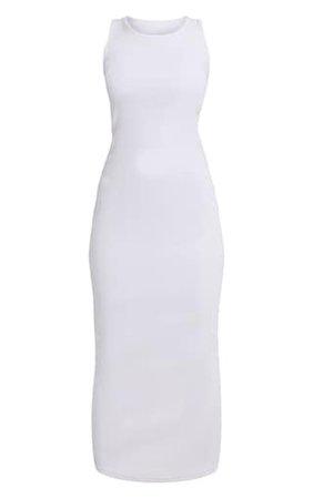 White Rib Scoop Neck Sleeveless Maxi Dress | PrettyLittleThing