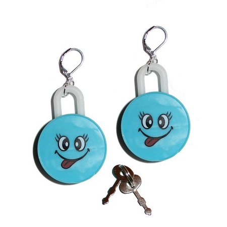 Vintage Inspired 90's Happy Face Lock and Key Earrings   Etsy