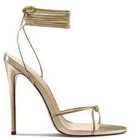 Gold LaceUp Heeled Sandals