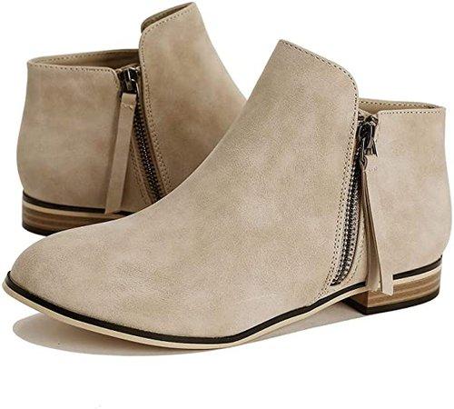 Amazon.com | PiePieBuy Women's Ankle Boots Pointed Toe Low Heel Side Split Stacked Zipper Booties | Ankle & Bootie