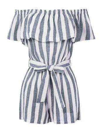 LE3NO Womens Summer Linen Striped Off Shoulder Flounce Ruffle Belted Romper Jumpsuit | LE3NO white