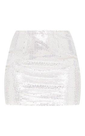 Silver Sequin Mini Skirt | PrettyLittleThing
