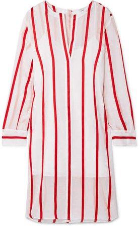 Striped Voile Dress - White