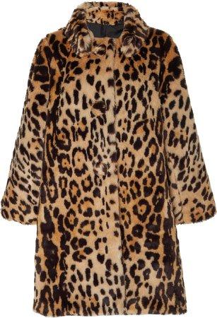 Faux Fur Leopard-Print Swing Coat