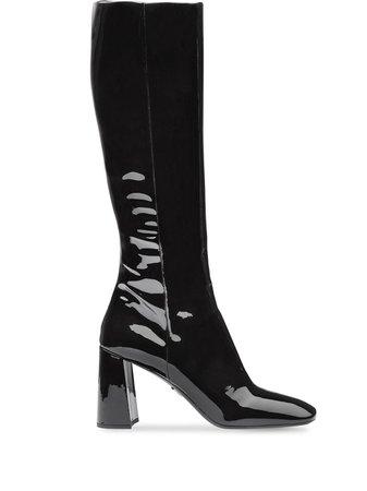 Prada fitted patent boots black- Farfetch