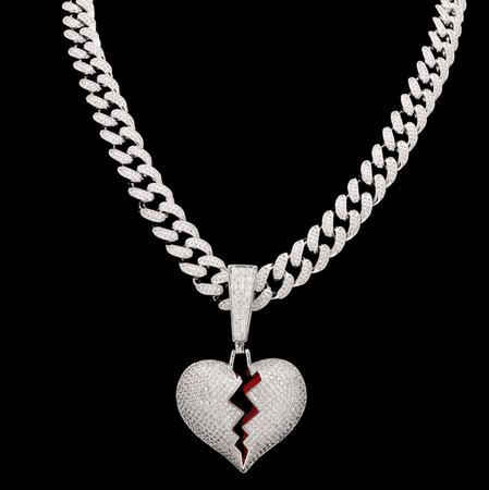 BROKEN HEART Iced Out Pendant Chain Necklace – SAINTCHiC
