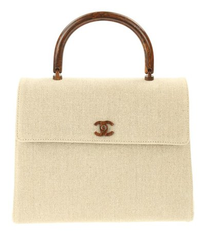 Chanel Flap Bag with Top Handle Wood Beige Canvas Satchel - Tradesy