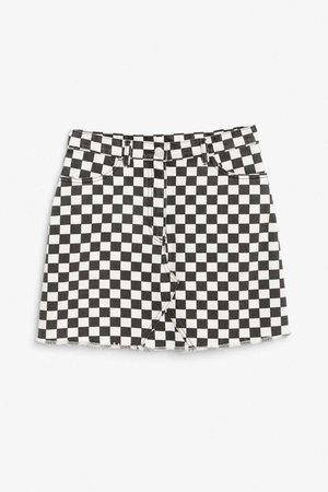 Frayed hem denim skirt - Checked to perfection - Skirts - Monki GB